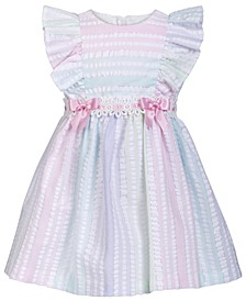 Baby Girls Metallic Striped Seersucker Dress