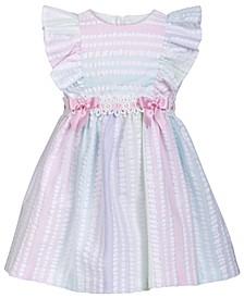 Baby Girls Metallic Striped Seersucker Dress