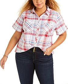 Plus Size Plaid Camp Shirt