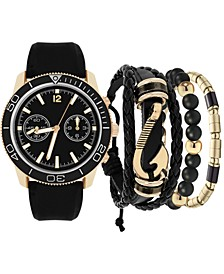 Men's Black Strap Watch 47.5mm Gift Set