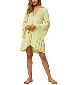 Juniors' Salt Water Solids Crochet Bell-Sleeve Cover-Up Dress