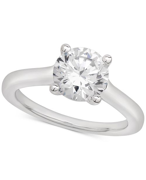 Macy's Certified Diamond Solitaire Engagement Ring (2 ct. t.w.) in 18k White Gold