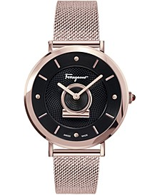 Women's Swiss Minuetto Rose Gold Ion-Plated Mesh Bracelet Watch 36mm