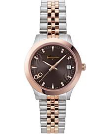 Women's Swiss Duo Diamond (1/20 ct. t.w.) Two-Tone Stainless Steel Bracelet Watch 33mm