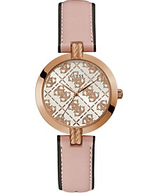 Women's Pink Leather Strap Watch 35mm