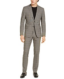 Armani Exchange Men's Modern-Fit Tan Glen Plaid Suit Separates, Created for Macy's