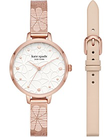 Women's Metro Floral Rose Gold-Tone Stainless Steel Mesh Bracelet Watch 34mm Gift Set