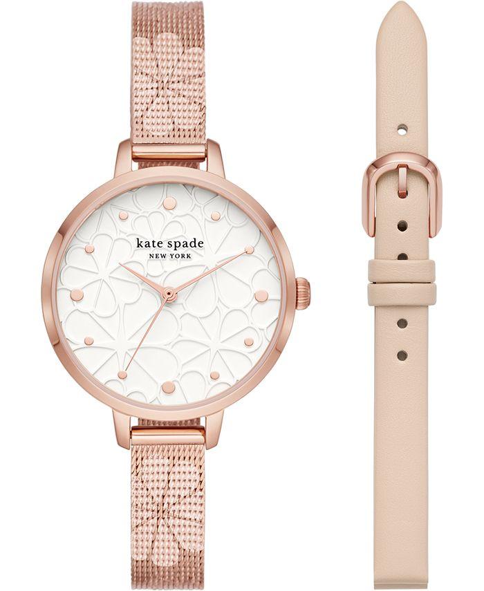 kate spade new york - Women's Metro Floral Rose Gold-Tone Stainless Steel Mesh Bracelet Watch 34mm