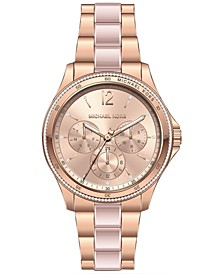 Women's Chronograph Rose Gold-Tone & Pink Acetate Bracelet Watch 39mm