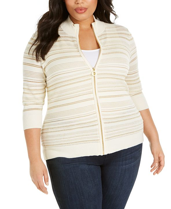 Belldini Plus Size Striped Lurex Zip-Front Textured Cardigan Sweater