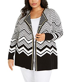 Plus Size Chevron Cardigan