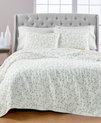 CLOSEOUT! Embroidered Leaves Reversible Full/Queen Quilt, Created for Macy's