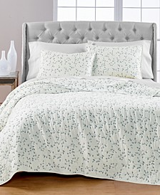 Embroidered Leaves Reversible Full/Queen Quilt, Created for Macy's