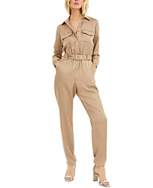 INC Plus Size Button-Front Jumpsuit, Created for Macy's