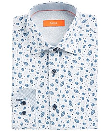 Men's Slim-Fit Performance Stretch White/Blue Paisley-Print Dress Shirt