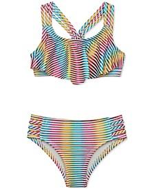 Baby Girls Metallic Stripe Two-Piece Swimsuit