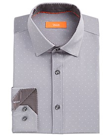 Men's Slim-Fit No-Iron Performance Stretch Grey Dot Dress Shirt
