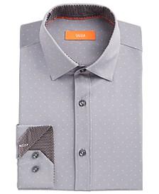 Men's Slim-Fit No-Iron Performance Stretch Grey Dot Dress Shirt