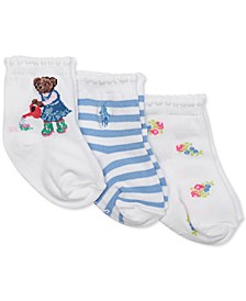 Baby Girls 3-Pk. Gardening Bear Crew Socks