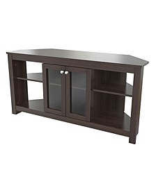 Corner TV Stand with Glass Doors