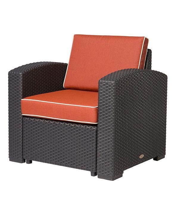 Lagoon Magnolia Rattan Club Chair, White with a Blue Cushion