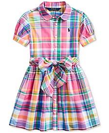 Toddler Girls Plaid Cotton Poplin Shirtdress