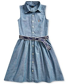 Toddler Girls Belted Chambray Shirtdress