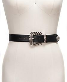 INC Zebra Pave Buckle Panel Belt