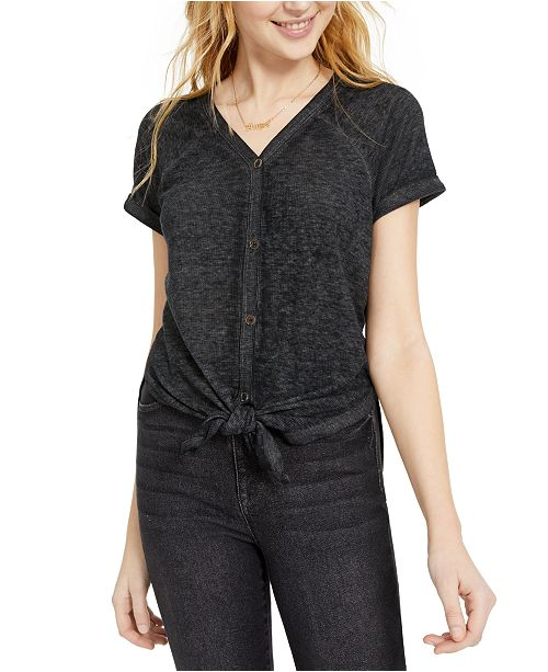 Almost Famous Juniors' Button-Up Tie-Front Tunic
