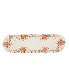 Falling Leaves Embroidered Cutwork Table Runner