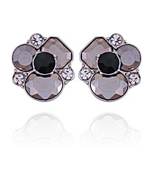 Mixed Gems Clustered Stone Clip Earring