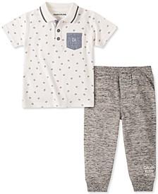 Baby Boys 2-Pc. Printed Polo & Jogger Pants Set