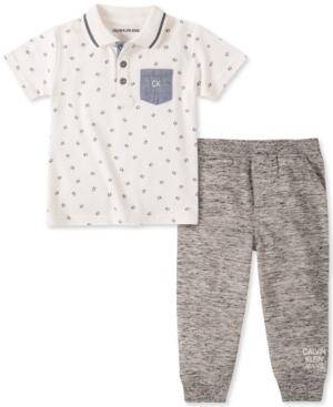 Calvin Klein Baby Boys 2-Pc. Printed Polo & Jogger Pants Set