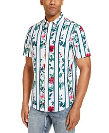 INC Men's Gregory Tropical Print Stripe Camp Shirt, Created for Macy's