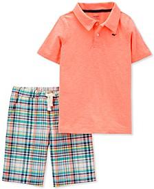 Little & Big Boys 2-Pc. Neon Polo Shirt & Plaid Shorts Set