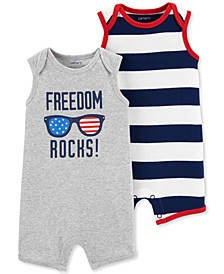 Baby Boys 2-Pc. Red, White & Blue Cotton Rompers