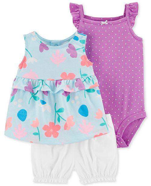Carter's Baby Girls 3-Pc. Dot-Print Cotton Bodysuit, Floral-Print Tunic & Shorts Set