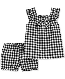 Baby Girls 2-Pc. Gingham-Print Cotton Top & Shorts Set