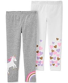 Toddler Girls 2-Pk. Unicorn & Hearts Leggings