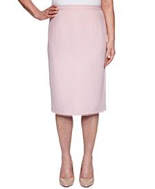 Primrose Garden Basket Weave Lace-Trimmed Skirt