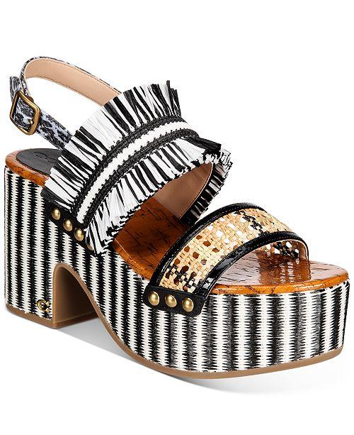 COACH Women's Nita Raffia Wedge Sandals