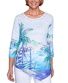 Alfred Dunner Costa Rica Sailboat Scenic Asymmetrical Top
