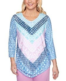 Petal Pushers Geo-Print 3/4-Sleeve Knit Top