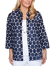 Ship Shape Two-In-One Cotton Dot-Print Top