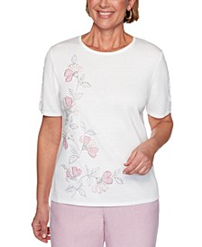 Primrose Garden Floral-Embroidered Top