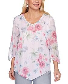 Primrose Garden Floral-Print Shimmering Split-Sleeve Woven Top