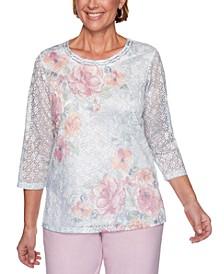 Primrose Garden Floral-Print Lace Knit Top