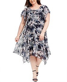 Plus Size Cowlneck Floral-Print Midi Dress