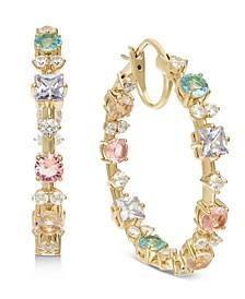 "18k Gold-Plated Medium Multi-Crystal Hoop Earrings, 1.25"", Created for Macy's"