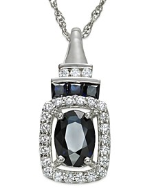Sapphire (1 ct. t.w.) and Diamond (1/5 ct. t.w.) Rectangle Pendant Necklace in 14k White Gold